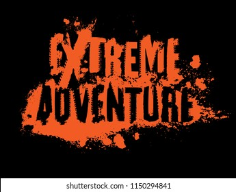 Off-Road EXTREME ADVENTURE hand drawn grunge lettering isolated on a black background. Tire tracks word made from unique letters. Editable vector illustration in bright orange color.