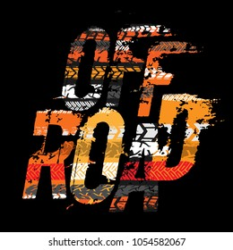 Off-Road grunge tyre lettering. Stamp tire word made from unique letters.  Vector illustration useful for poster, print, leaflet design. Editable graphic element in orange, yellow and black colors.