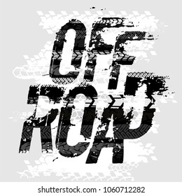 Off-Road grunge tyre lettering. Stamp tire word made from unique letters. Vector illustration useful for poster, print and leaflet design. Editable graphic element in grey colours.
