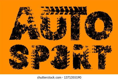 Off-Road hand drawn grunge motosport lettering. Tire tracks words made from unique letters. Automobile vector illustration. Editable graphic element in black color isolated on orange background
