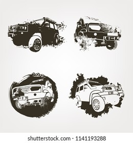 Off-road logo elements set. Extreme competition emblem. Off-roading suv adventure and car club design materials. Beautiful vector textured  illustration in brown color isolated on a light background.
