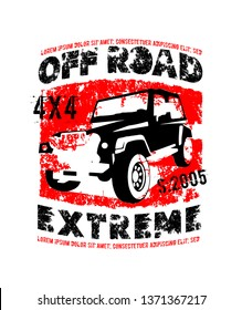Off-road logo. Extreme competition emblem. Off-roading suv adventure and car club elements. Vector illustration in black, red colors with unique textured lettering isolated on a white background.