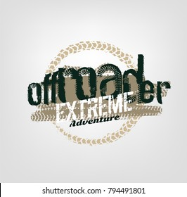 Off-road logo. Extreme competition emblem. Off-roading suv adventure and car club elements. Beautiful vector illustration with unique textured lettering isolated on a light background.