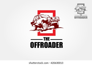 Offroad pickup truck design elements, 4x4 vehicle illustration. Suv car logo template.