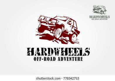 Offroad pickup truck design elements. Vector logo illustration.