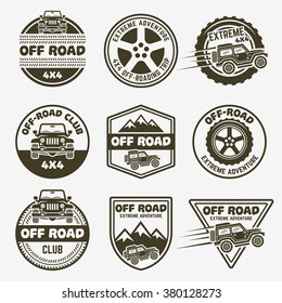 Off-road suv car or 4x4 club set of vector monochrome labels, emblems, badges and logos isolated on gray background