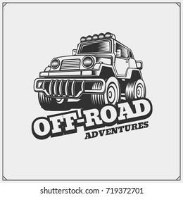 Off-road suv car emblem. Safari label.