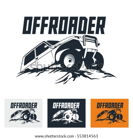 Offroad Suv Car Monochrome Template Labels Stock Vector Royalty