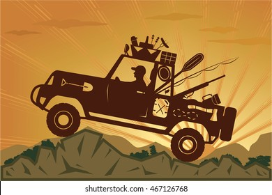 Off-road trip into a wilderness encourages participation in fishing, hunting or just camping to make your vacation tour really unforgettable. EPS 8, stock vector illustration.