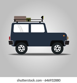 Off-road vehicle isolated on white background. Extreme Sports - 4x4 Sports Utility Vehicle SUV. Vector Illustration flat style for web design banner or print