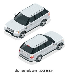 Off-road write car. Modern VIP transport. Flat 3d isometric vector illustration. For infographics and design