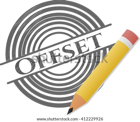 Offset Draw Pencil Effect Stock Vector Royalty Free 412229926