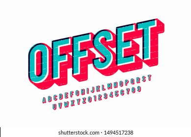 Offset print style font design, alphabet letters and numbers, vector illustration