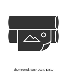 Offset printer glyph icon. Silhouette symbol. Flexography. News printing machine. Negative space. Vector isolated illustration