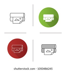 Offset printer icon. Flexography. News printing machine. Flat design, linear and color styles. Isolated vector illustrations