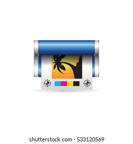 Offset printing icon in color. Print shop service publisher