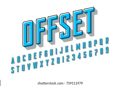Offset printing style modern font, vector illustration