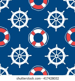 Offshore hand drawn seamless pattern seaman. Doodle marine background. Buoys and marine steering wheels backdrop vector