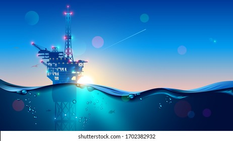 Offshore Oil or Gas Rig in sea at sunset time. industry drill platform in ocean. Water with underwater bubbles with sunrise on horizon. subsea marine landscape. Mining petroleum.