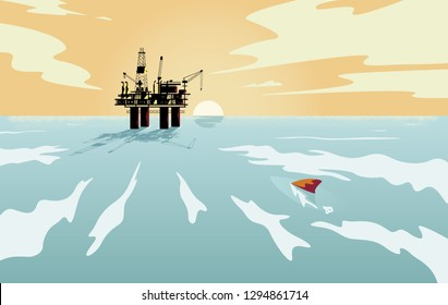 Offshore oil industry In the middle of the sea at sunset time,flat design style,vector illustration.
