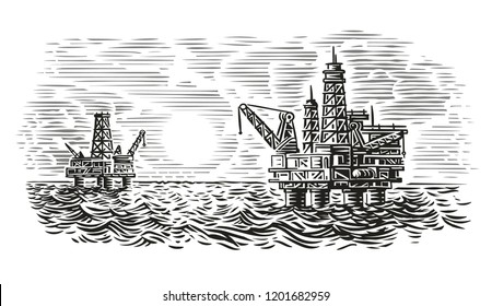Offshore oil rig engraving style illustration. Sea oil drilling. Vector.