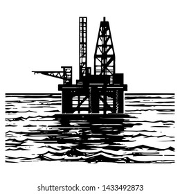 Offshore oil rig engraving style illustration. Sea oil drilling hand drawn sketch illustration vector.