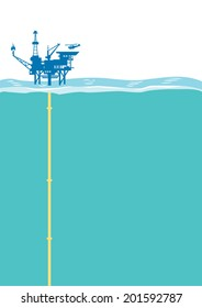 Offshore oil rig platform with Helipad. Vector Illustration
