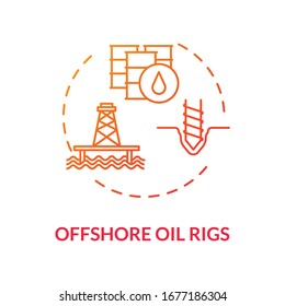 Offshore oil rigs red concept icon. Industrial structure for fuel production. Petroleum extraction with drill idea thin line illustration. Vector isolated outline RGB color drawing