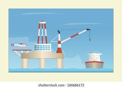 Offshore platform. Vector illustration. EPS10. Opacity