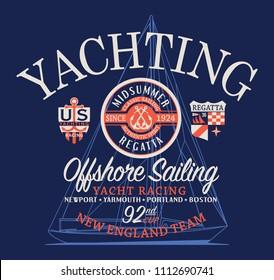 Offshore sailing regatta yachting race, nautical style vector artwork for boy man t shirt