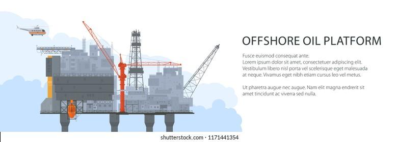 Offshore Sea Oil Platform and Helicopter , Oil Industry Banner , Poster Brochure Flyer Design, Vector Illustration