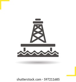 Offshore sea well glyph icon.