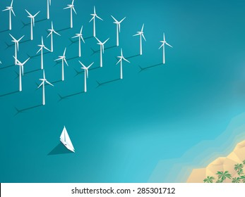 Offshore wind farm concept. Ecological background suitable for presentations. Eps10 vector illustration.
