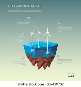 Offshore wind farm infographics template. Ecological power plant. Turbines on floating island. Low poly design concept. Eps10 vector illustration.