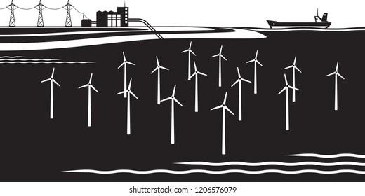 Offshore wind turbines farm - vector illustration