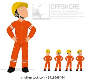 Offshore worker in jumpsuit are posing akimbo on transparent background.