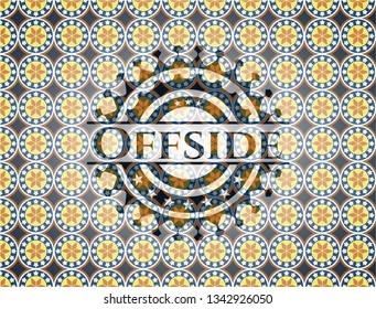 Offside arabic badge. Arabesque decoration.