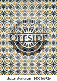 Offside arabic emblem. Arabesque decoration.