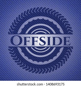 Offside badge with jean texture. Vector Illustration. Detailed.