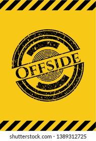 Offside black grunge emblem, yellow warning sign. Vector Illustration. Detailed.