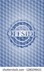 Offside blue emblem with geometric pattern background.
