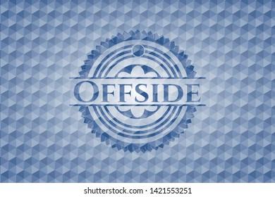 Offside blue emblem with geometric pattern background. Vector Illustration. Detailed.
