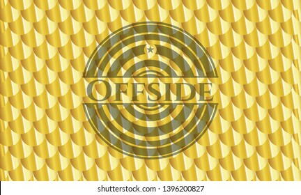 Offside gold badge. Scales pattern. Vector Illustration. Detailed.
