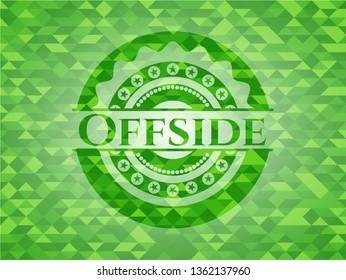 Offside green emblem. Mosaic background