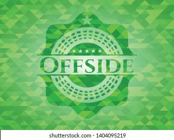 Offside green emblem with mosaic background. Vector Illustration. Detailed.