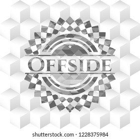 Offside grey badge with geometric cube white background