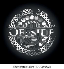 Offside grey camouflaged emblem. Vector Illustration.