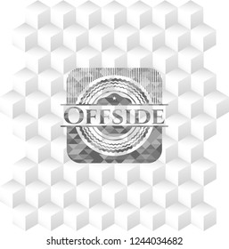 Offside grey emblem with cube white background