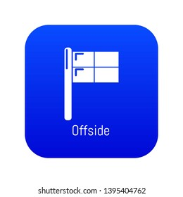 Offside icon blue vector isolated on white background