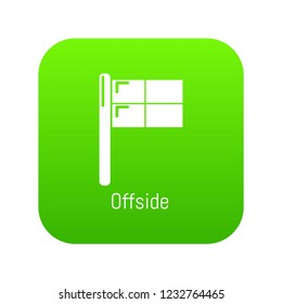 Offside icon green vector isolated on white background